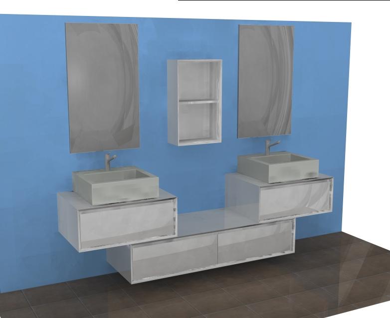 mobile bagno moderno sospeso l144 cm doppio lavabo ar45-21 bianco ... - Arredo Bagno Moderno Doppio Lavabo