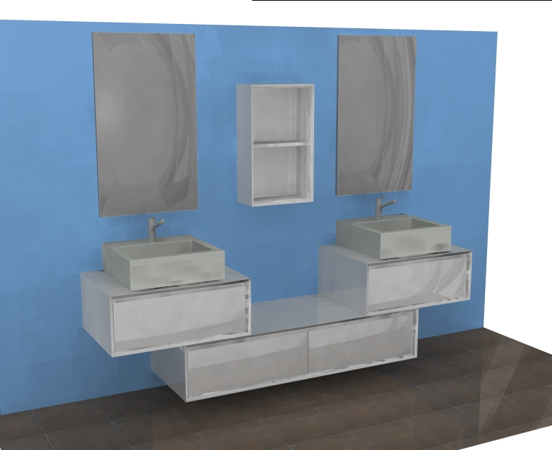 mobile bagno moderno sospeso l144 cm doppio lavabo ar45-21 bianco ... - Bagni Moderni Con Doppio Lavabo