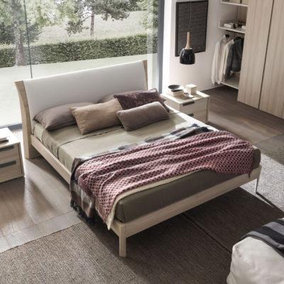 Joy - Letto matrimoniale moderno con cuscino, rete inclusa e struttura in legno MAB