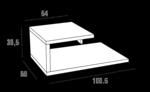 Mary - Tavolino moderno da salotto girevole con cassetto TA365