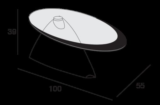 Pamela - Tavolino moderno da salotto in mineral marmo con piano in vetro TA130