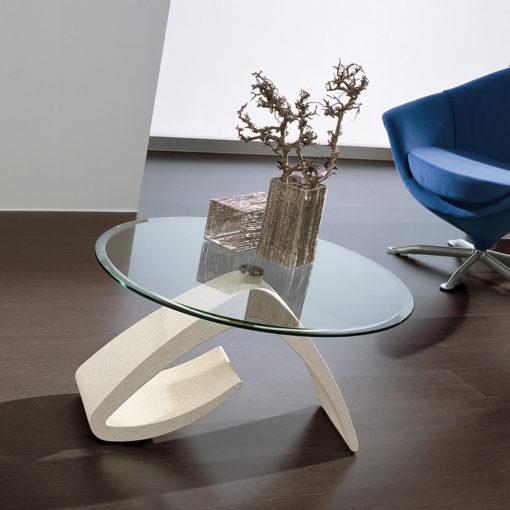 Cinzia - Tavolino moderno da salotto in mineral marmo con piano in vetro TA125