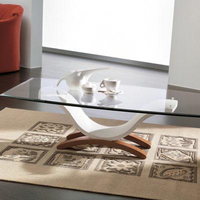 Susy - Tavolino moderno da salotto in mineral marmo con piano in vetro TA127
