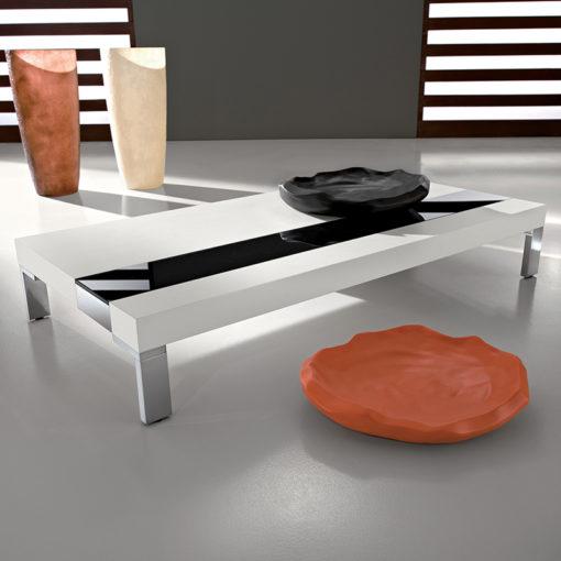 Eva - Tavolino moderno da salotto in legno e vetro TA349