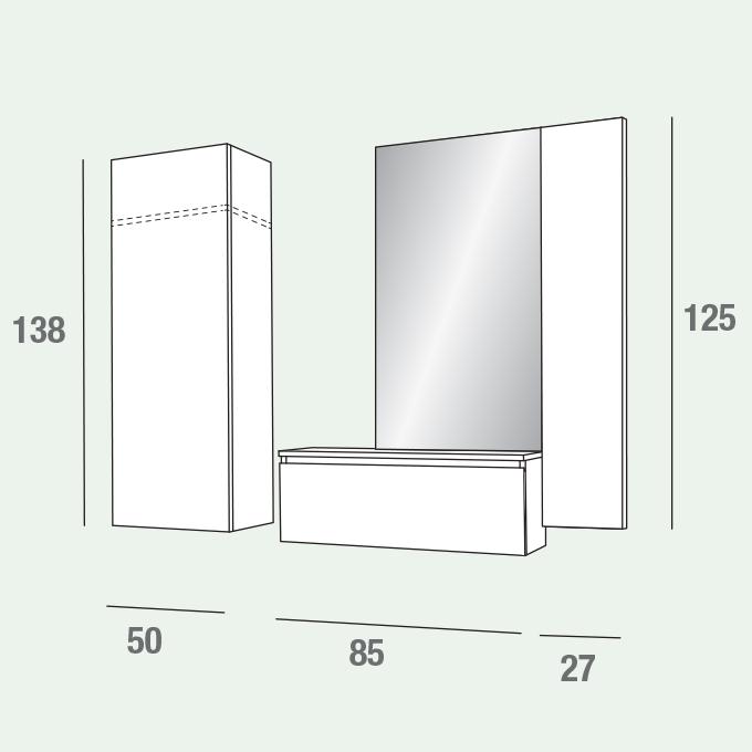 Stella mobile per ingresso con specchiera armadio e for Armadio per ingresso
