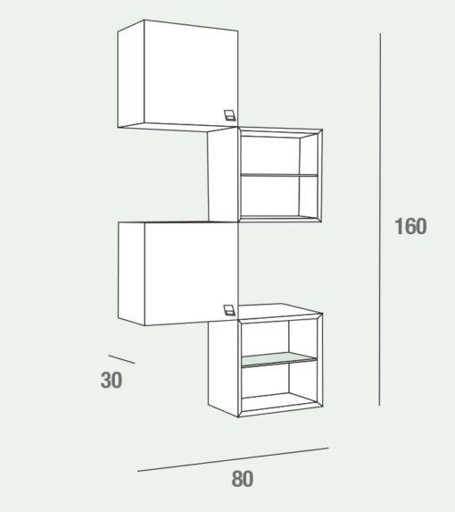 Lego - Mobile per ingresso con pensili a giorno e con anta comp. 602
