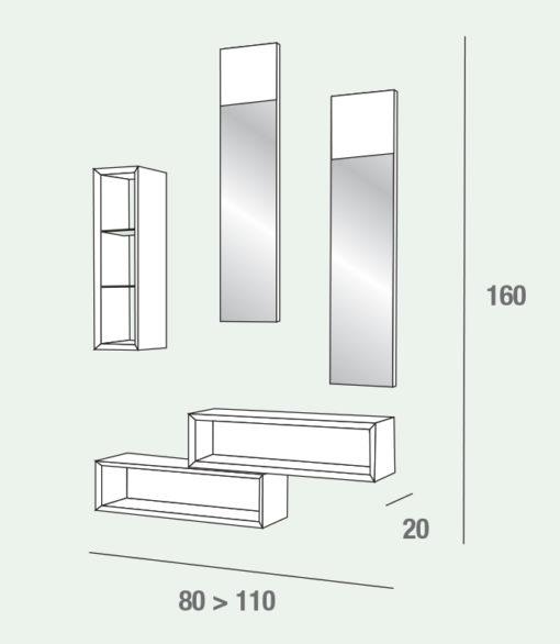 Lego - Mobile per ingresso con specchi ed elementi a giorno comp. 603