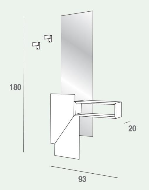 Lego - Mobile per ingresso con specchiera ed elemento a giorno comp. 600-601