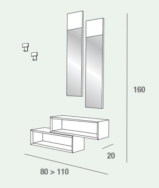 Lego - Mobile per ingresso con specchi ed elementi a giorno comp. 604