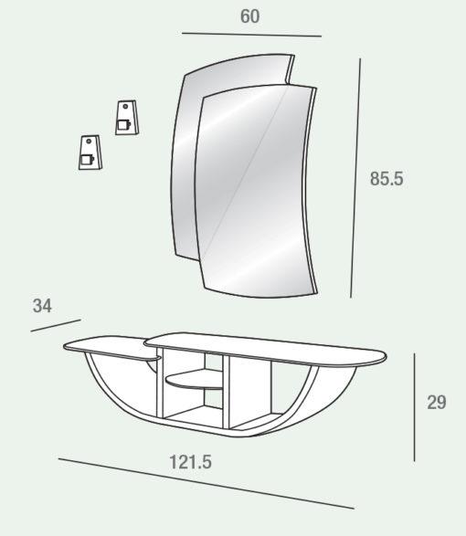 Gondola - Mobile per ingresso con specchiera e consolle comp. 520