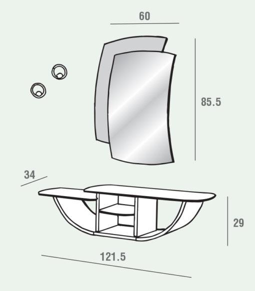 Gondola - Mobile per ingresso con specchiera e consolle comp. 671