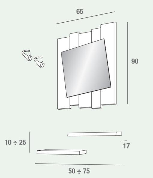 Zoe - Mobile per ingresso con specchiera comp. 620