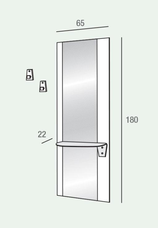 Lia - Mobile per ingresso con specchio e mensola comp. 500