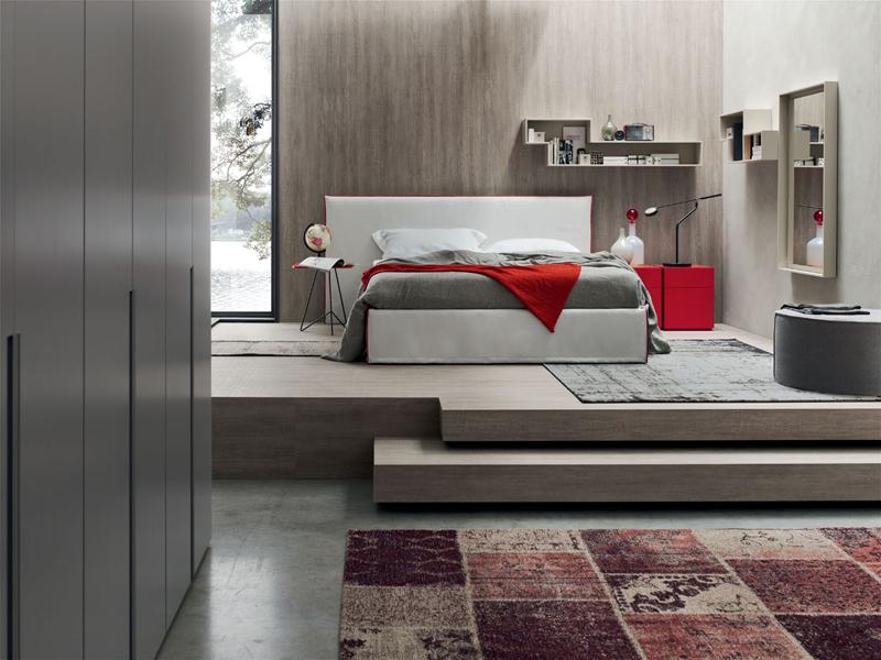 Relax letto matrimoniale imbottito in tessuto o ecopelle maronese acf interno77 soluzioni - Letto matrimoniale imbottito ecopelle ...