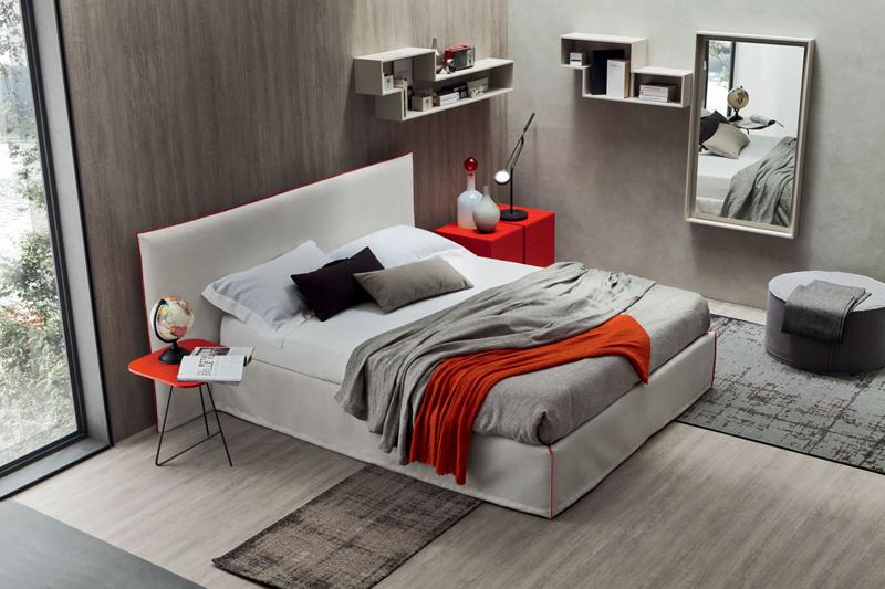 Letto Ecopelle Giallo : Relax letto matrimoniale imbottito in tessuto o ecopelle maronese