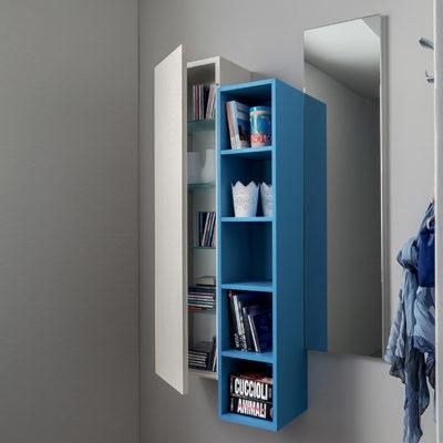 Stella - Mobile per ingresso con specchiera, libreria e pensile comp. 634