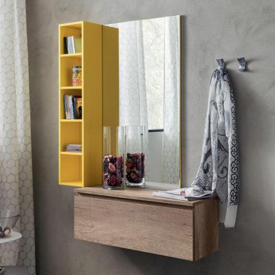 Stella - Mobile per ingresso con specchiera, libreria e cassetto comp. 630