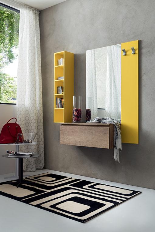 Stella - Mobile per ingresso con specchiera, libreria e cassetto comp. 631