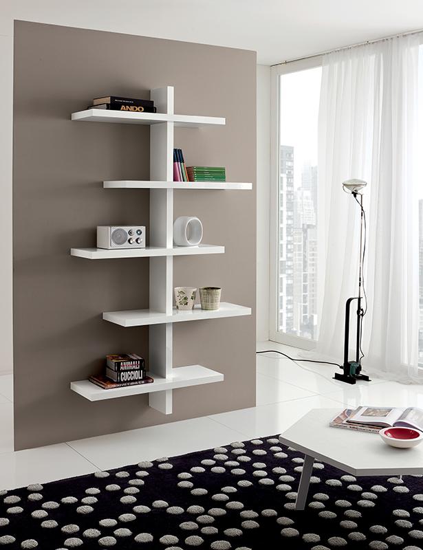 Libreria pensile design moderno vittoria 545 bianco estrel for Mobile libreria in offerta