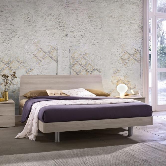 Tulip letto matrimoniale moderno con rete inclusa e struttura in legno mab interno77 - Struttura letto matrimoniale con contenitore ...