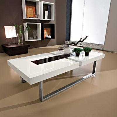 Julie - Tavolino moderno da salotto in legno e vetro TA346