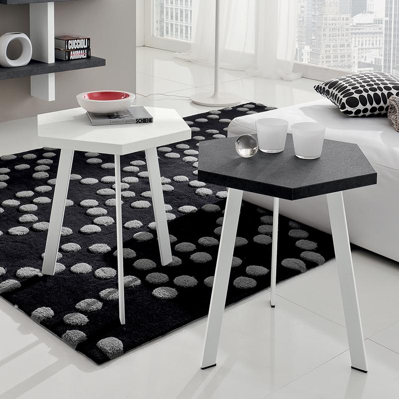rossella tavolino moderno da salotto con piano esagonale