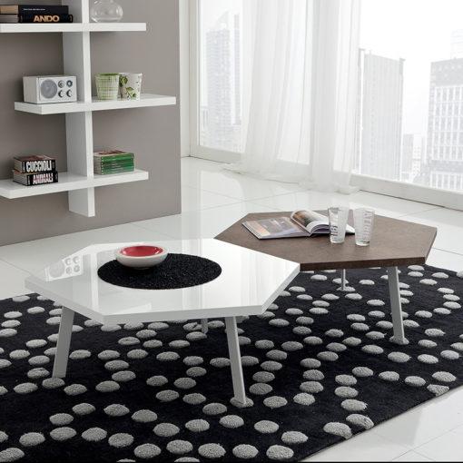 Rossella - Tavolino moderno da salotto con piano esagonale grande TA371