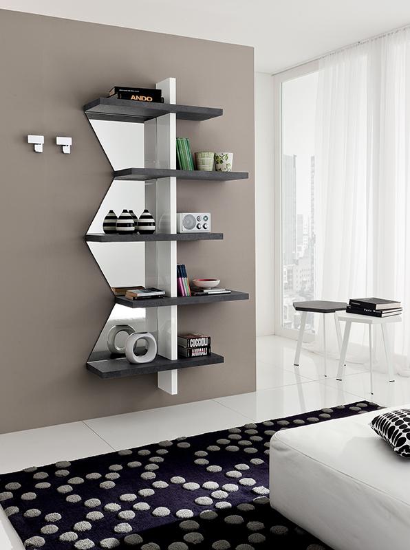 Vittoria mobile per ingresso libreria a mensola con specchio sagomato comp 546 interno77 - Idee ingresso casa moderna ...