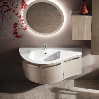 B201 12 - Mobile arredo bagno curvo L.125 cm personalizzabile COMPAB
