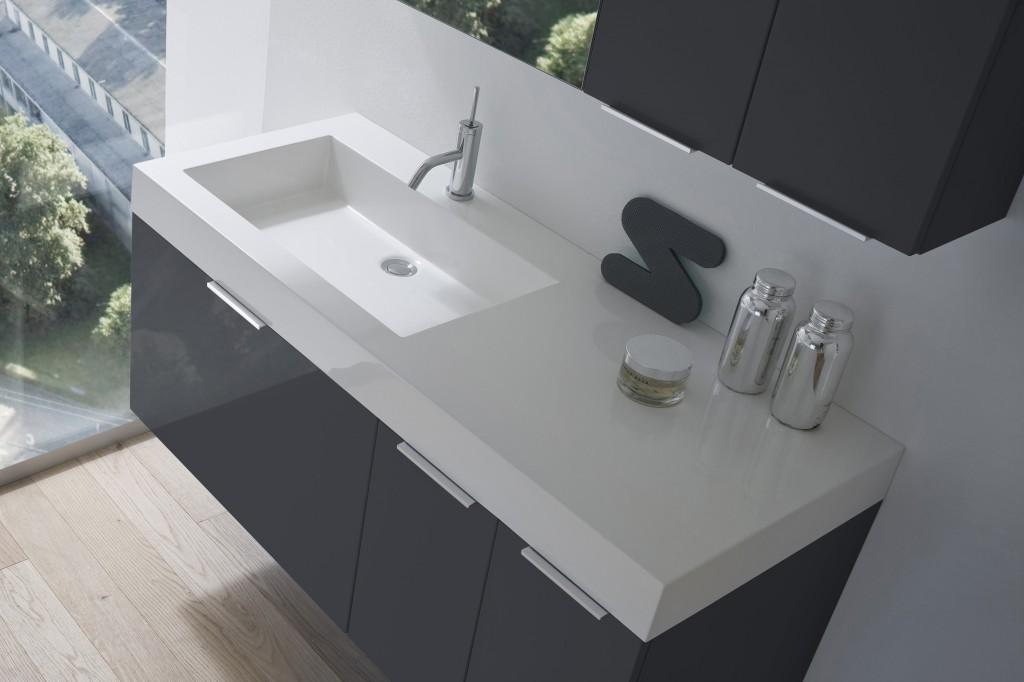 B201 con piano CITY - Mobile arredo bagno design L.120 cm ...