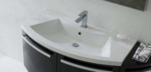 B201 06B - Mobile arredo bagno curvo L.130 cm personalizzabile COMPAB