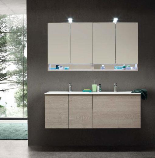 CL020 - Mobile arredo bagno design doppio lavabo L.141,5 cm personalizzabile COMPAB