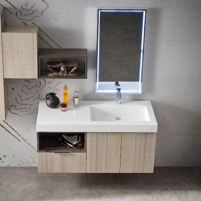 B201 02 - Mobile arredo bagno design L.120 cm personalizzabile COMPAB