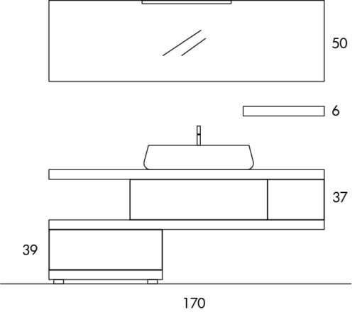 EL26 - Mobile arredo bagno design L.170 cm personalizzabile COMPAB
