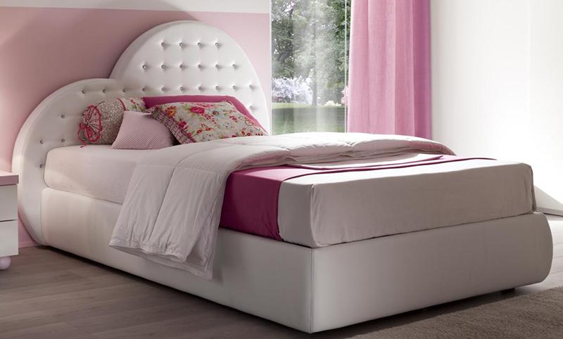 Letto cuore piazza e mezza bambina imbottito ecopelle rosa bianco 120 ebay - Letto contenitore 140 x 190 ...