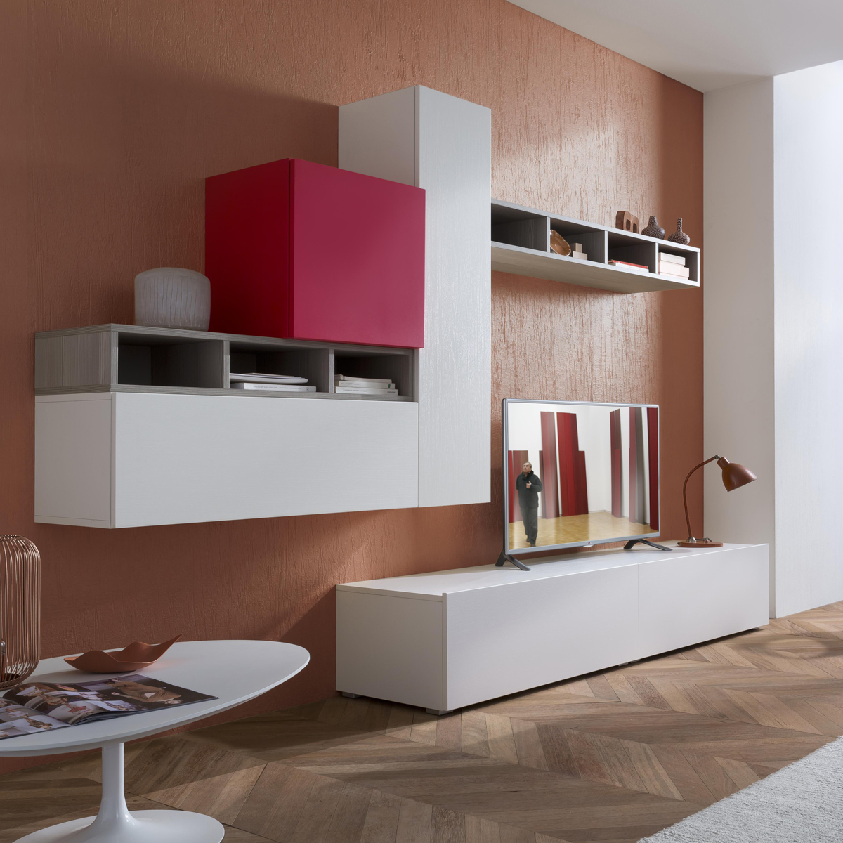 Tender cod 113 mobile parete attrezzata per soggiorno l for Mobile parete soggiorno
