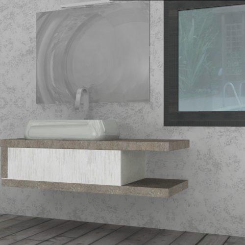 EL 19 - Mobile arredo bagno design L.136 cm personalizzabile COMPAB