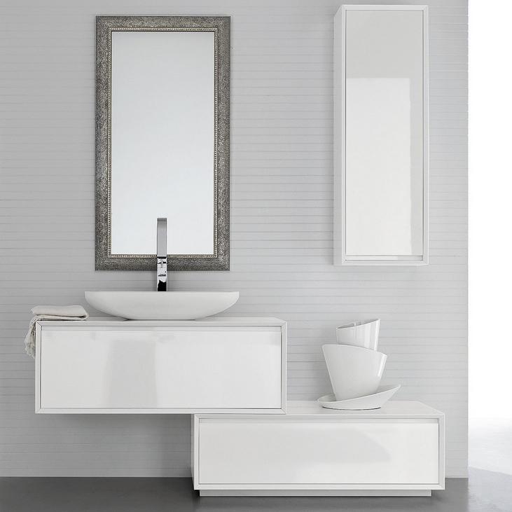 Mobile bagno moderno sospeso a cassetti ar45 03 bianco for Cassettone bagno