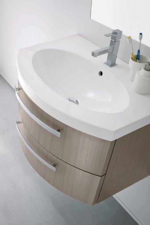 B201 Poker 075 – Mobile arredo bagno curvo L.71 cm personalizzabile COMPAB