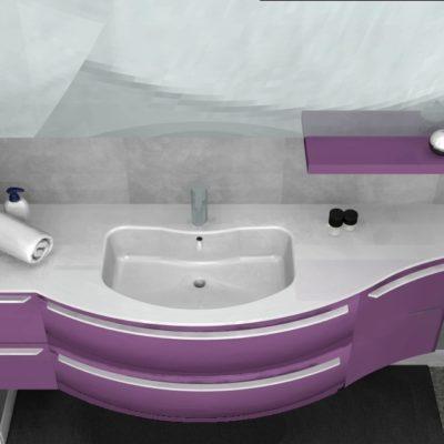 B201 Versus A677 – Mobile arredo bagno curvo L.156 cm personalizzabile COMPAB