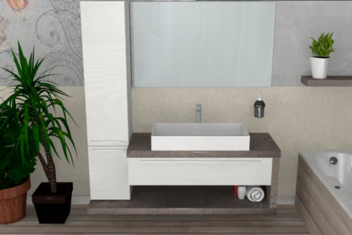 B201 83 – Mobile arredo bagno design L.146 cm personalizzabile COMPAB