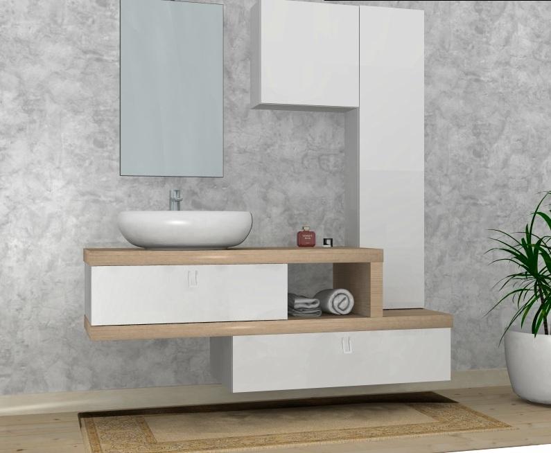 B201 84 - Mobile arredo bagno design L.165 cm personalizzabile ...