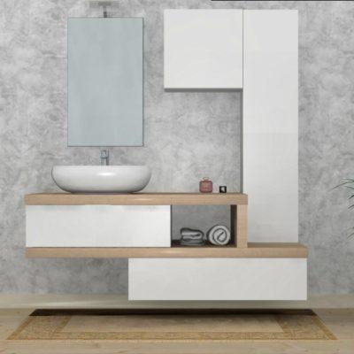 B201 84 - Mobile arredo bagno design L.165 cm personalizzabile COMPAB