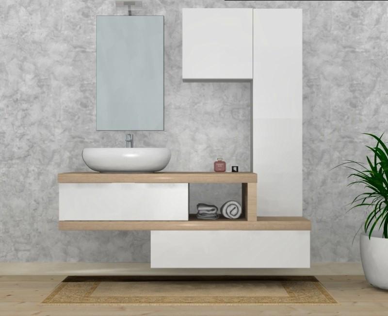 Mobili bagno design mobile bagno arredo bagno completo pensile acero cm lavabo specchio - Self arredo bagno ...