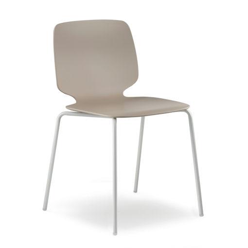 Babila 2730 - Sedia moderna con gambe in metallo bianco