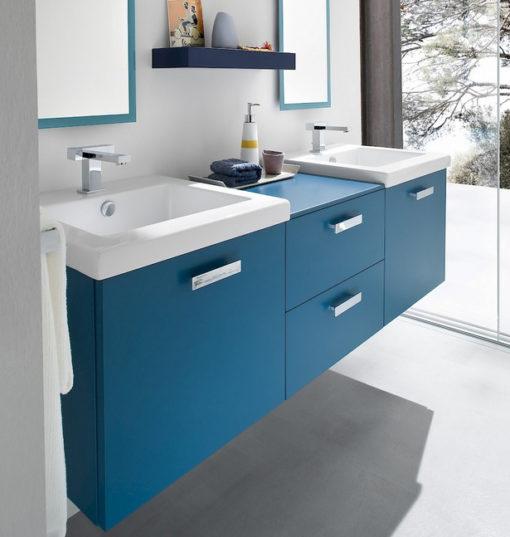 CH21 - Mobile arredo bagno design doppio lavabo L.151 cm personalizzabile COMPAB