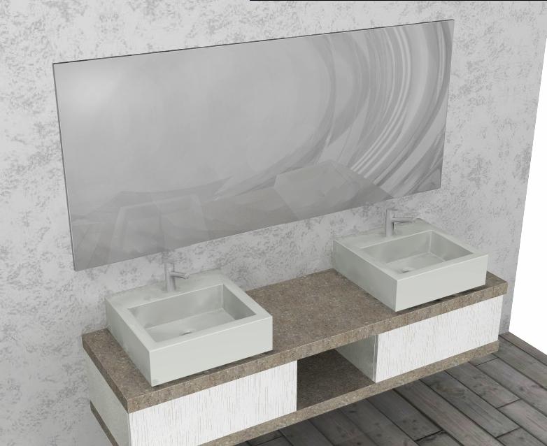 El18 mobile arredo bagno design doppio lavabo cm personalizzabile compab interno77 - Lavabo pietra bagno ...