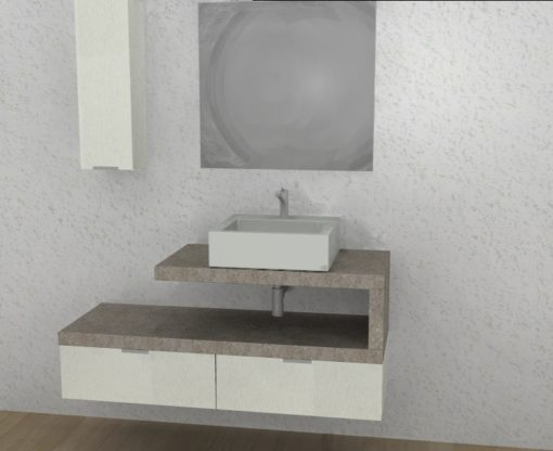 EL 22 - Mobile arredo bagno design L.130 cm personalizzabile COMPAB