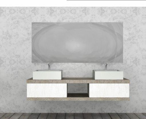 EL18 - Mobile arredo bagno design doppio lavabo L.180 cm personalizzabile COMPAB