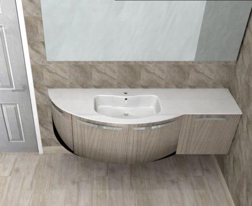 B201 Versus A671 – Mobile arredo bagno curvo L.171,7 cm personalizzabile COMPAB